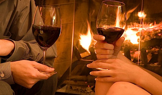 Romantic - couple-fireplace-wine