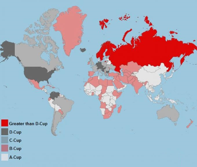 Average cup size by countries 2