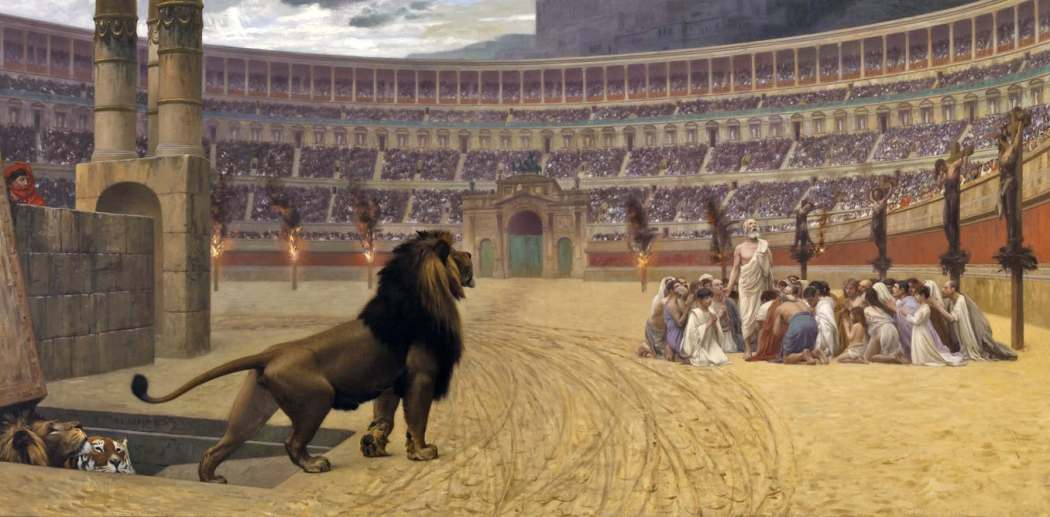 Lions and tigers released on Christians in Colosseum